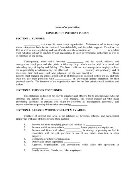conflict  interest policy template   templates