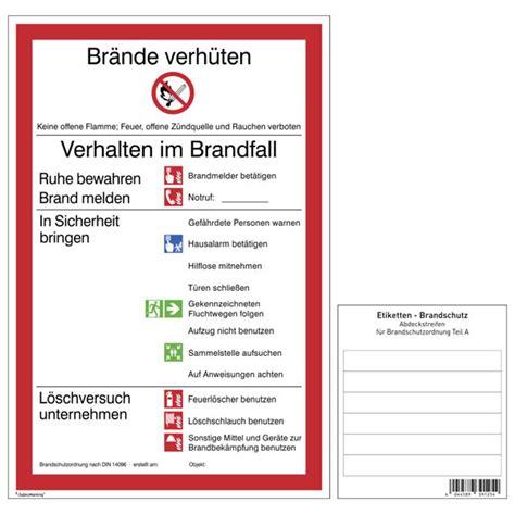 aushang brandschutz brandschutzordnung teil