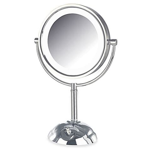 lighted makeup mirror bed bath and beyond buy jerdon 8x 1x led lighted vanity mirror in chrome from