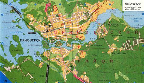 Карта города Приозерск с улицами