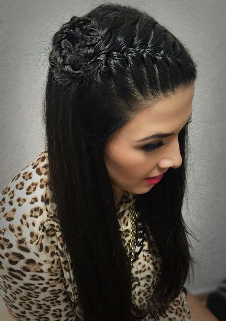 peinados cabello suelto  trenza belleza  estilo