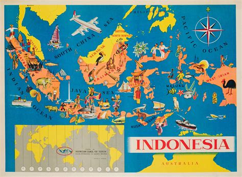 indonesia pictorial map  original vintage poster