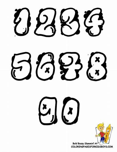 Graffiti Numbers Coloring Pages Number Alphabet Printable