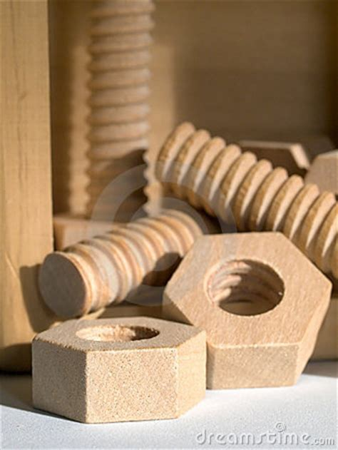 wooden nuts  bolts royalty  stock  image