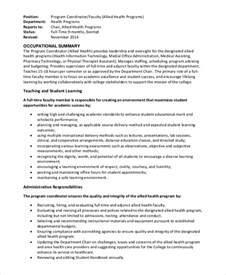 wellness coordinator description sle program coordinator description 9 exles in pdf word