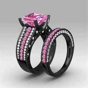 black and pink wedding ring sets 3 40 ct pink princess cut silver engagement wedding ring set black gold plated ebay
