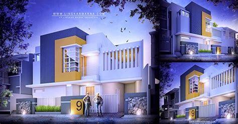 lingkar warna desain rumah dua lantai bergaya minimalis