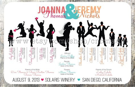 silhouette wedding program digital printable by crcmade on