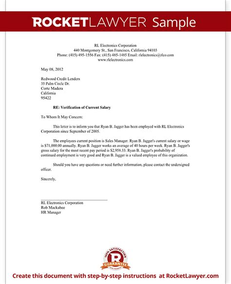 salary verification letter  proof  income rocket lawyer