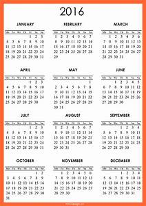 2016 calendar printable one page yearly calendar template With single page calendar template
