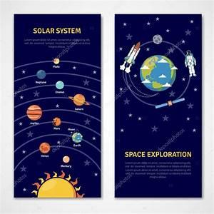 Banners de exploración sistema solar y el espacio — Vector ...