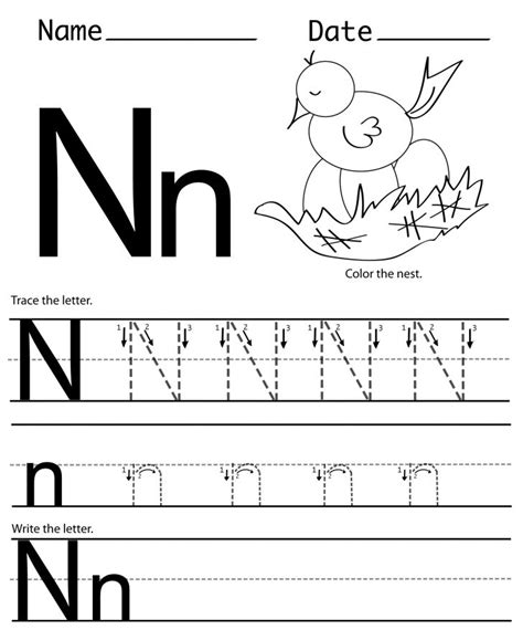 n printable worksheets letter n worksheets printable pages
