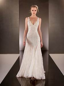 elegant beaded straps plunging v neck lace wedding dresses With v neck lace wedding dress