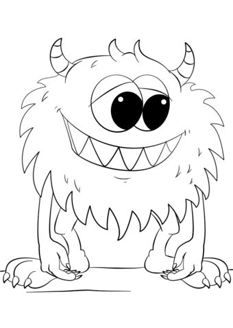 Cute Cartoon Monster coloring page Free Printable