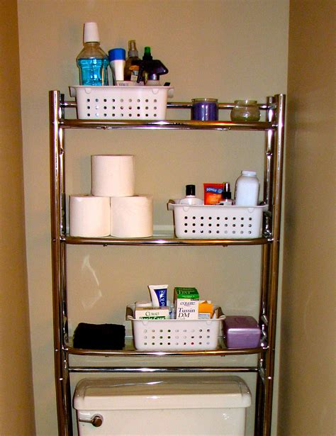bathroom makeup storage ideas saving small bathroom spaces using stainless steel vertical rack towel makeup and tissue