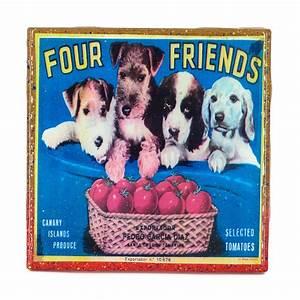 Brand 4 Friends : stella divina handmade coaster four friends dog brand vintage citrus crate label ~ Eleganceandgraceweddings.com Haus und Dekorationen