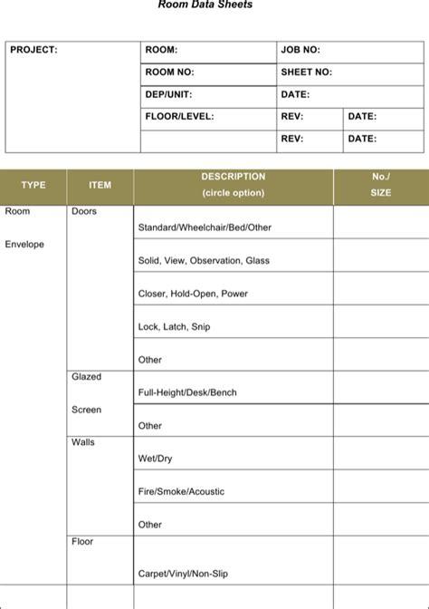 sample room data sheet template