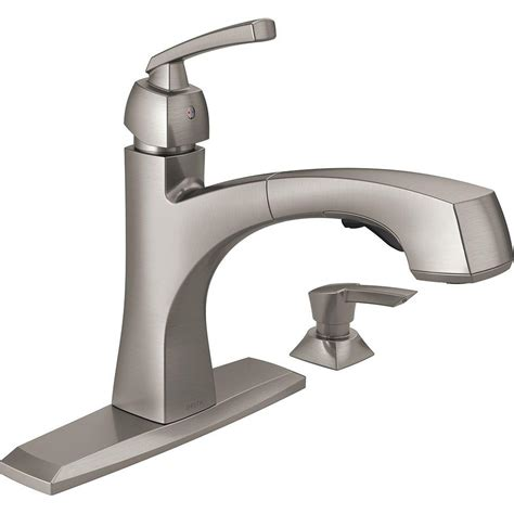 kitchen faucets with pull out sprayer delta montauk single handle pull out sprayer kitchen faucet with soap dispenser and magnatite