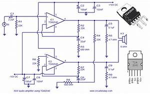 An Audio Amplifier Circuit Diagram And Schematics Of 30 Watts Using Tda2040