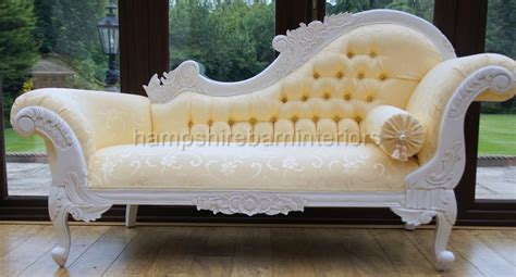 White Ornate Medium French Style Gold Chaise Longue Free