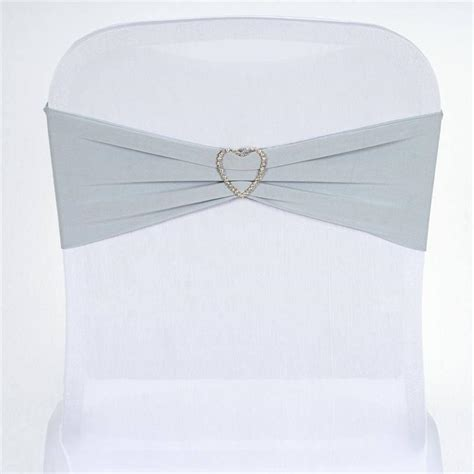 5 pcs wholesale silver spandex stretch chair sash catering