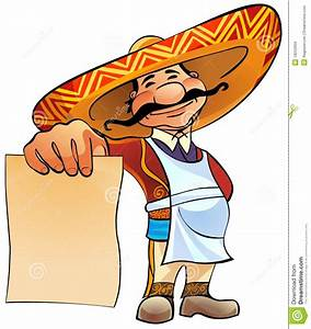 Mexican cook with menu. stock illustration. Illustration ...