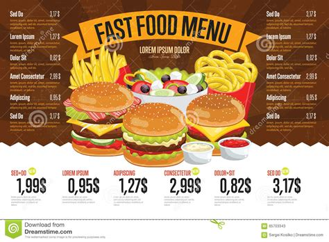 fast cuisine fast food menu template stock vector image 65703343