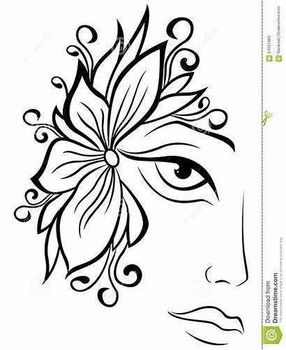 Face Floral Outline Drawing Female Vrouwelijk Gezicht