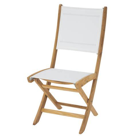 chaises teck chaise de jardin pliante blanche teck maisons du monde