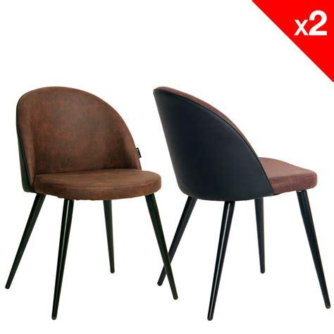 chaises retro chaise vintage métal et microfibre lot de 2 giza