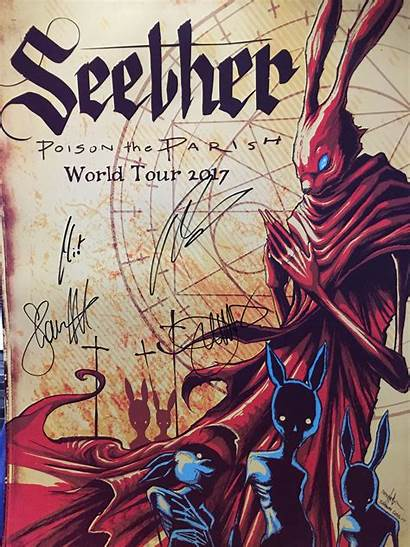 Seether Poster Level Tour Arena Austin Signed
