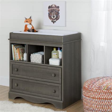 south shore savannah changing table south shore savannah 2 drawer gray maple changing table