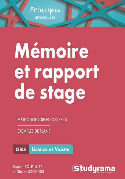 rapport de stage cuisine collective librairie studyrama mémoire et rapport de stage