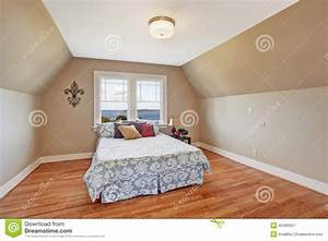 Cozy Bedroom Interior With Vaulted Ceiling Stock Image