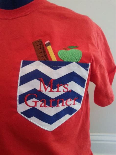 monogram pocket tshirt  teachers  pandsmonogram