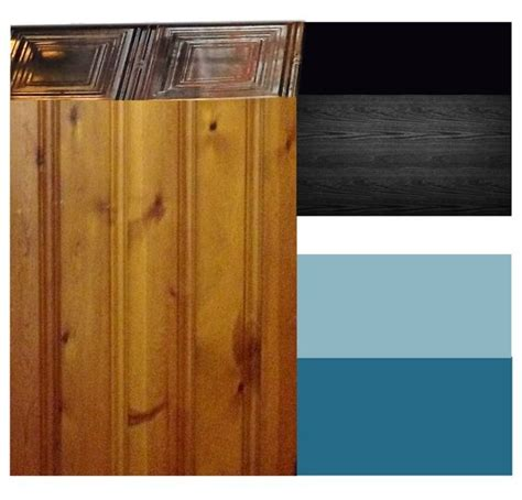 modern color scheme that embraces the knotty pine walls