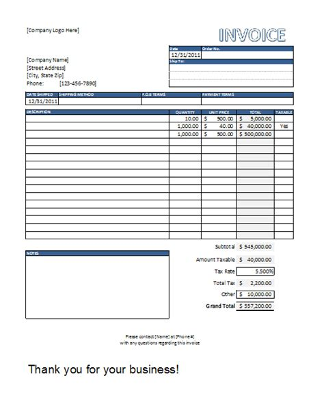 invoice template excel free best business template