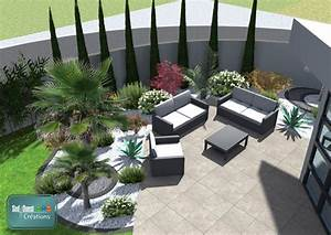 plan 3d terrasse en dalles contemporaines avec With comment amenager un petit jardin 1 transformer et vegetaliser un patio