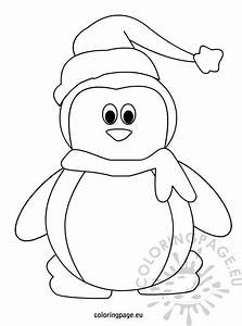 Christmas Card Outline Penguin With Hat And Scarf Coloring Page