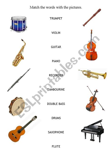 musical instruments matching activity esl worksheet