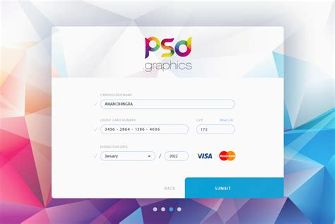 Credit Card Form Ui Free Psd Graphics Download  Download Psd