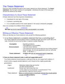 Thesis Statement Examples Template