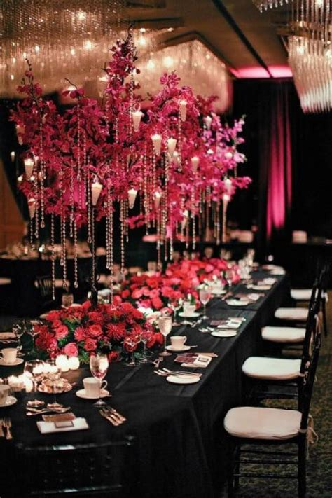 pink and black wedding decor ideas wedding centerpiece