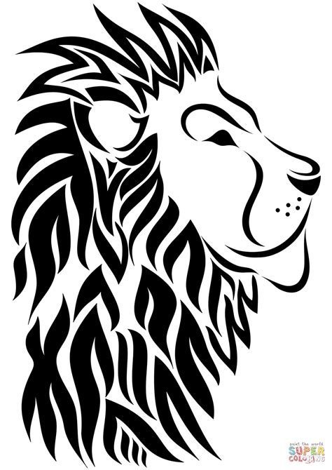 Tribal Lion Tattoo Coloring Page  Free Printable Coloring