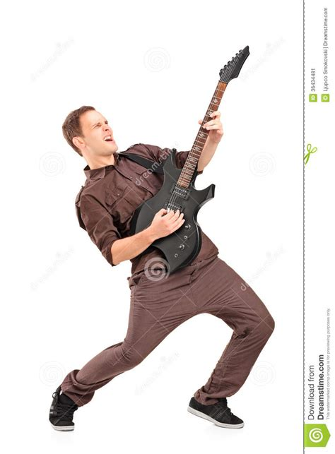 Full Length Portrait Of A Young Man Playing On Electric Guitar Stock Image  Image Of Artist