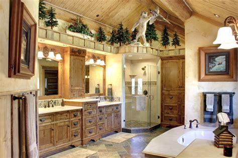 log home living  big bear rustic bathroom los