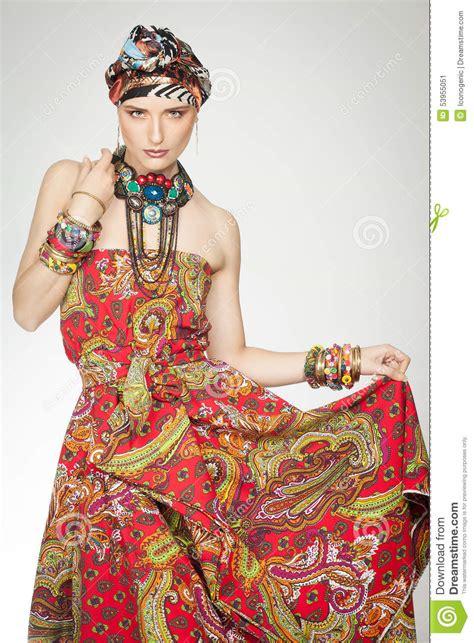 Colorful Exotic Fashion stock image. Image of portrait - 53955051