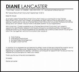 trainee recruitment consultant cover letter sample With how to address a cover letter to a recruitment agency
