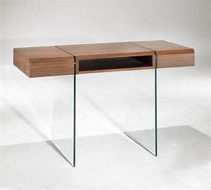 Bureau En Verre Design : enterprise bureau design bois et verre avec tiroirs ~ Teatrodelosmanantiales.com Idées de Décoration