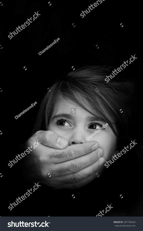 little girls abused children strong male hands cover